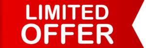 Red ribbon. Banner limited offer. Vector stock illustration.